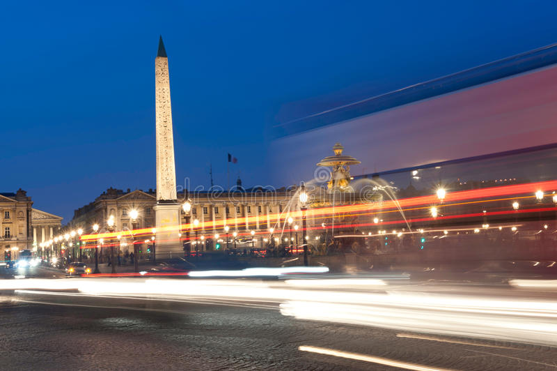 巴黎,协和广场在晚上 免版税图库摄影