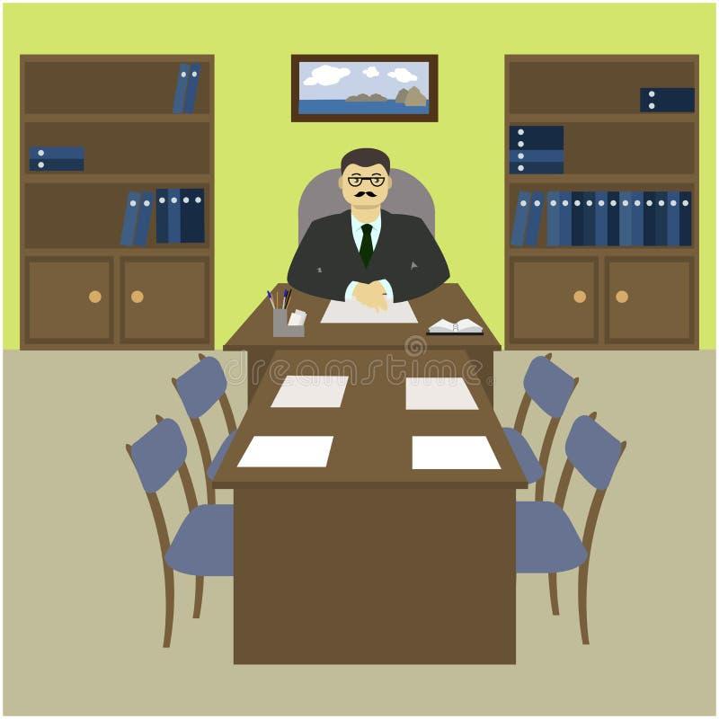 主任,在一张书桌后的上司在办公室 皇族释放例证