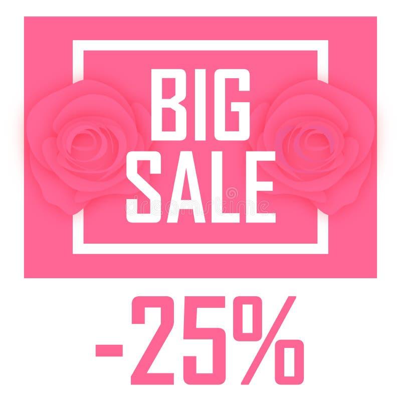 25%,在玫瑰背景的折扣的大销售  库存例证