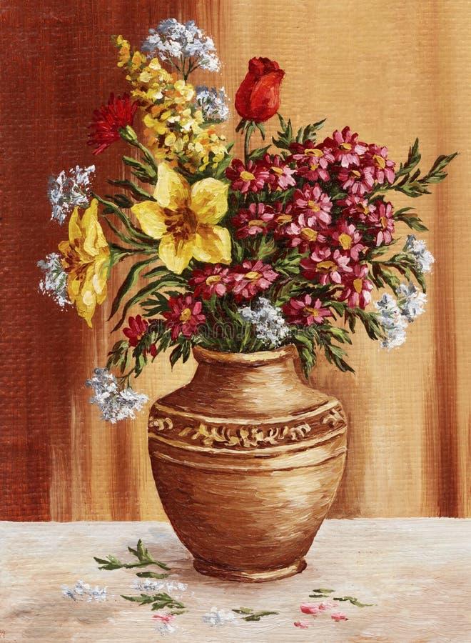 绘画,庭院在黏土油罐开花 皇族释放例证