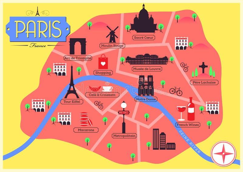 巴黎,法国传染媒介地图  免版税库存图片