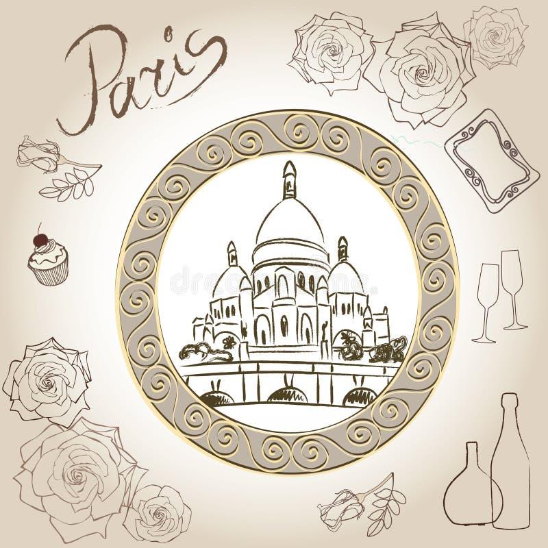 巴黎,法国的耶稣圣心的大教堂。Basilique du Sacre-Cœurr的图片。Scrapbooking手画的成套工具。 向量例证