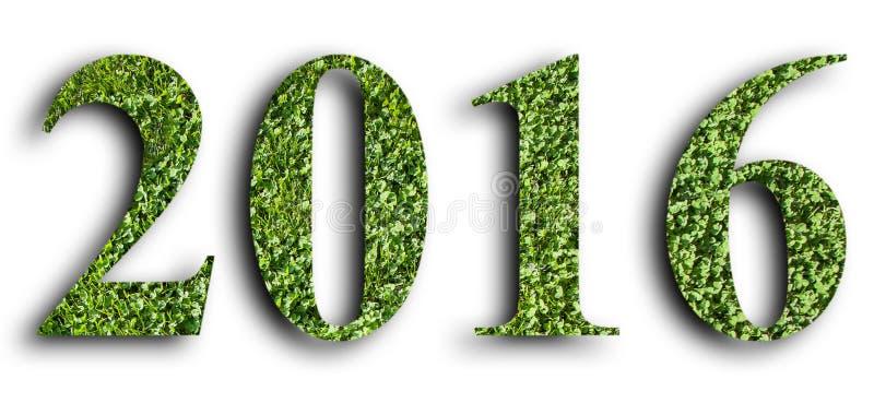 2016年,由绿草做的新年,被隔绝在白色背景 免版税库存图片