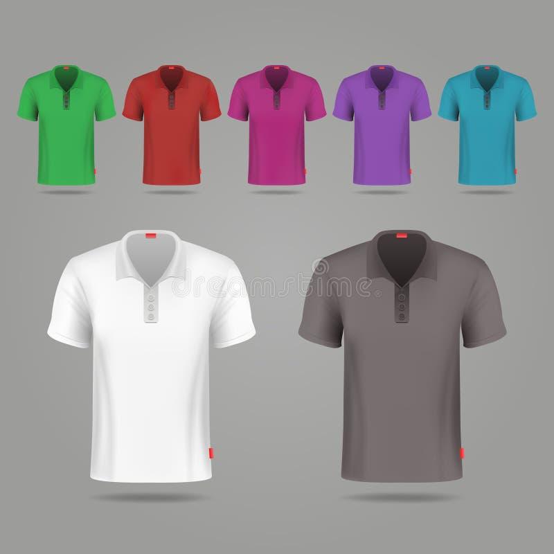 黑,白色和颜色男性传染媒介T恤杉设计模板 库存例证