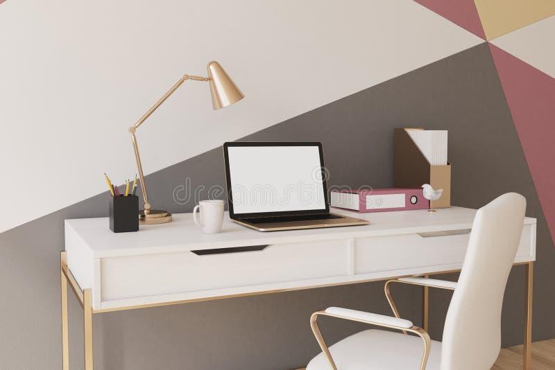 黑,红色,黄色和白色家庭办公室特写镜头 向量例证