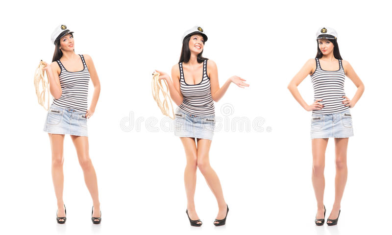 年轻,美丽和性感的水手女孩 库存图片