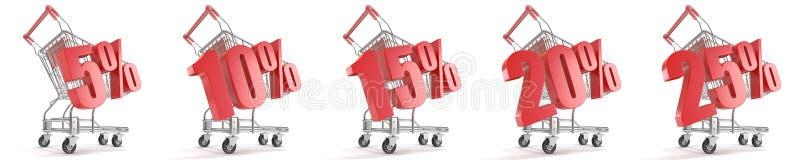 5%, 10%, 15%, 20%, 25%%在购物车前面的折扣 概念玻璃现有量扩大化的销售额 3d 向量例证