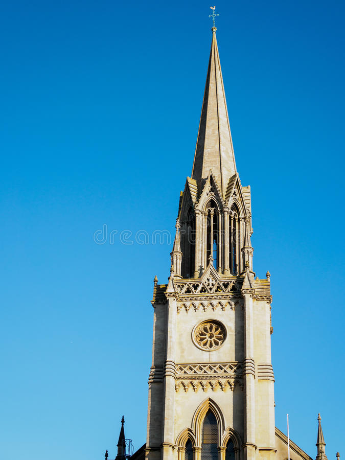 浴, SOMERSET/UK - 10月02日:圣迈克尔的教会尖顶  免版税库存照片
