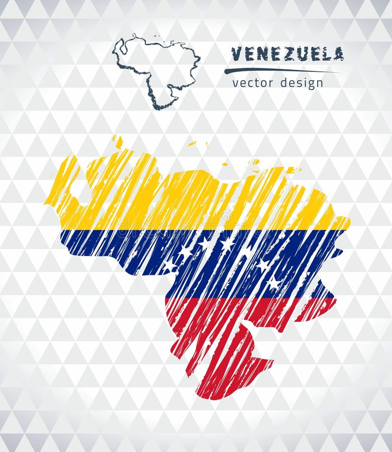 :委内瑞拉与在白色背景隔绝的旗子里面的传染媒介地图 剪影白垩手拉的例证 皇族释放例证