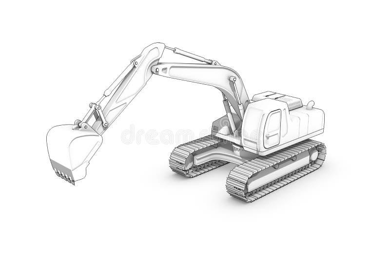 画:挖掘机黑白剪影  库存例证