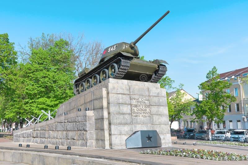 ? do tanque T34 um monumento aos heróis da grande guerra patriótica. fotografia de stock royalty free