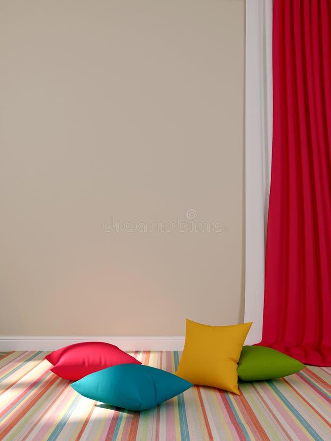 �olorful zasłony i poduszki ilustracja wektor
