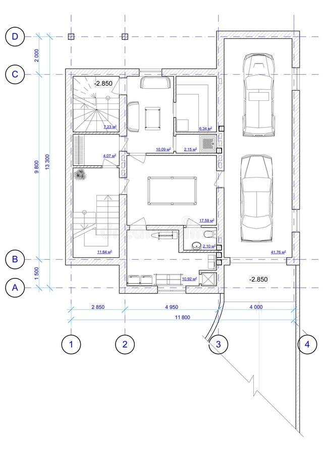 0个结构上楼层房子计划 库存例证