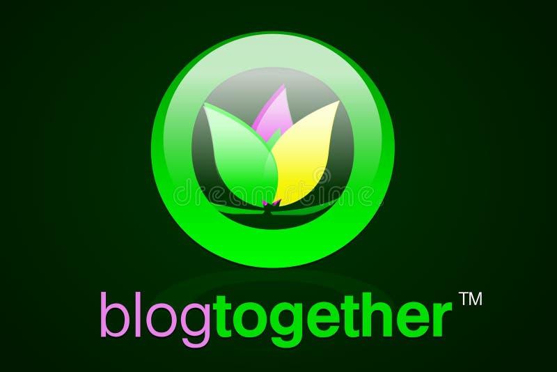 0 2 блогов иконы сетей совместно стоковое фото
