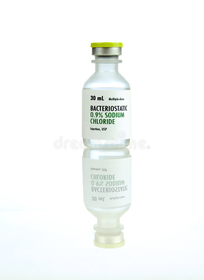 0.9% sodium chloride. Solution for intravenous hydration. The generic label was made for the photo shoot, no infringement issues due to trademarks or brand royalty free stock photo