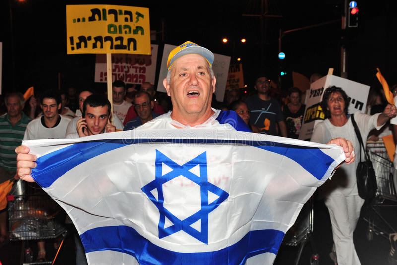 000 300 cost strömförande protest för israeler royaltyfria bilder