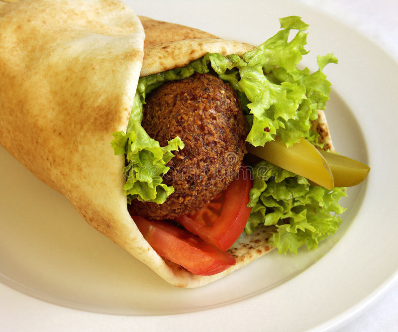 0001_ZBS. Falafel sandwich on a dish stock photos