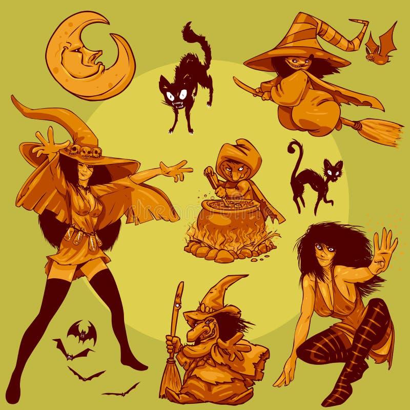 009 ведьм halloween конструкции собрания характера иллюстрация вектора
