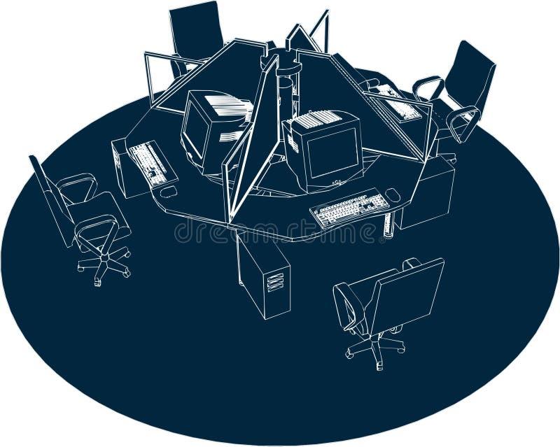 01个办公室安排向量工作 库存例证