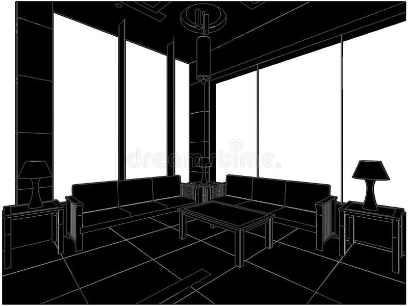 01个大厅现代向量 皇族释放例证