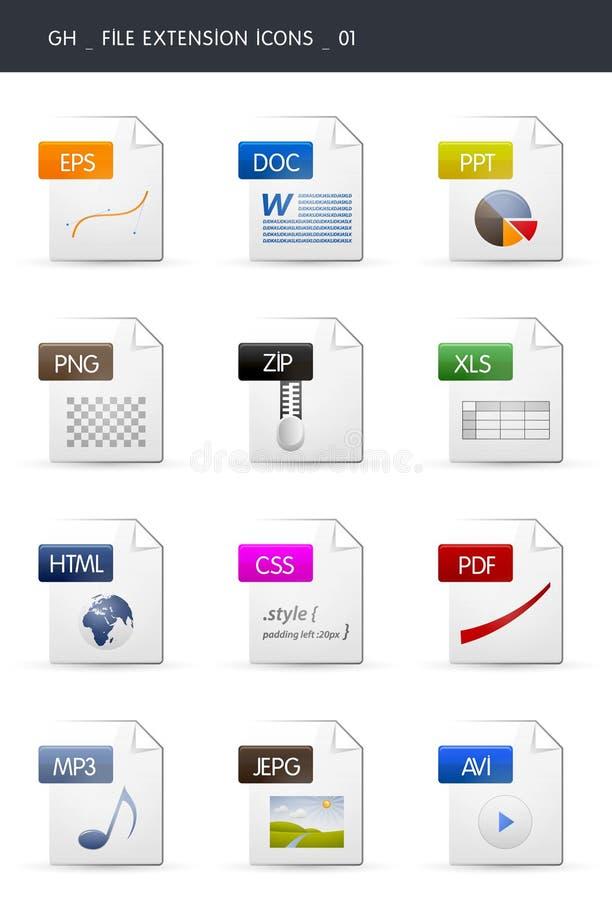 01个扩展名文件图标 向量例证