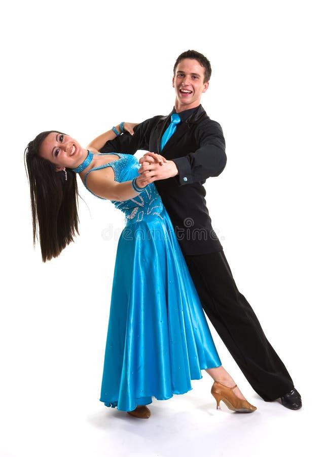 01个舞厅蓝色舞蹈演员l 库存图片