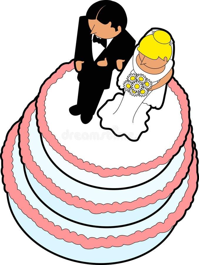 01个蛋糕轻便短大衣婚礼 库存例证