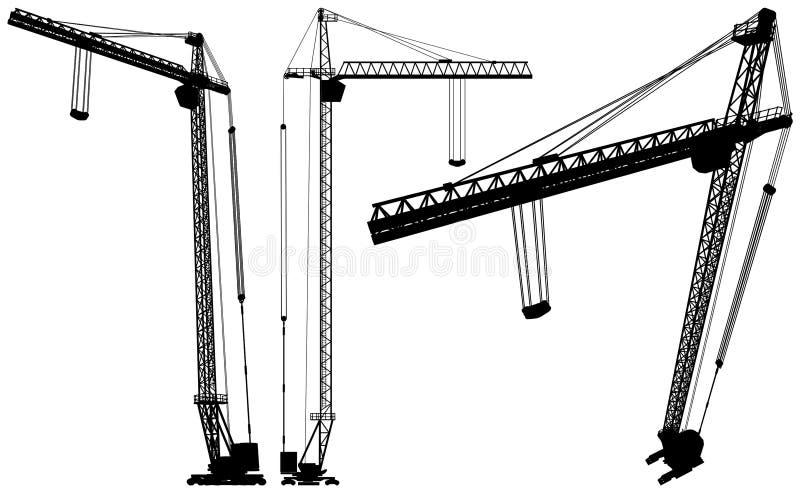 01举起向量的建筑用起重机 库存例证