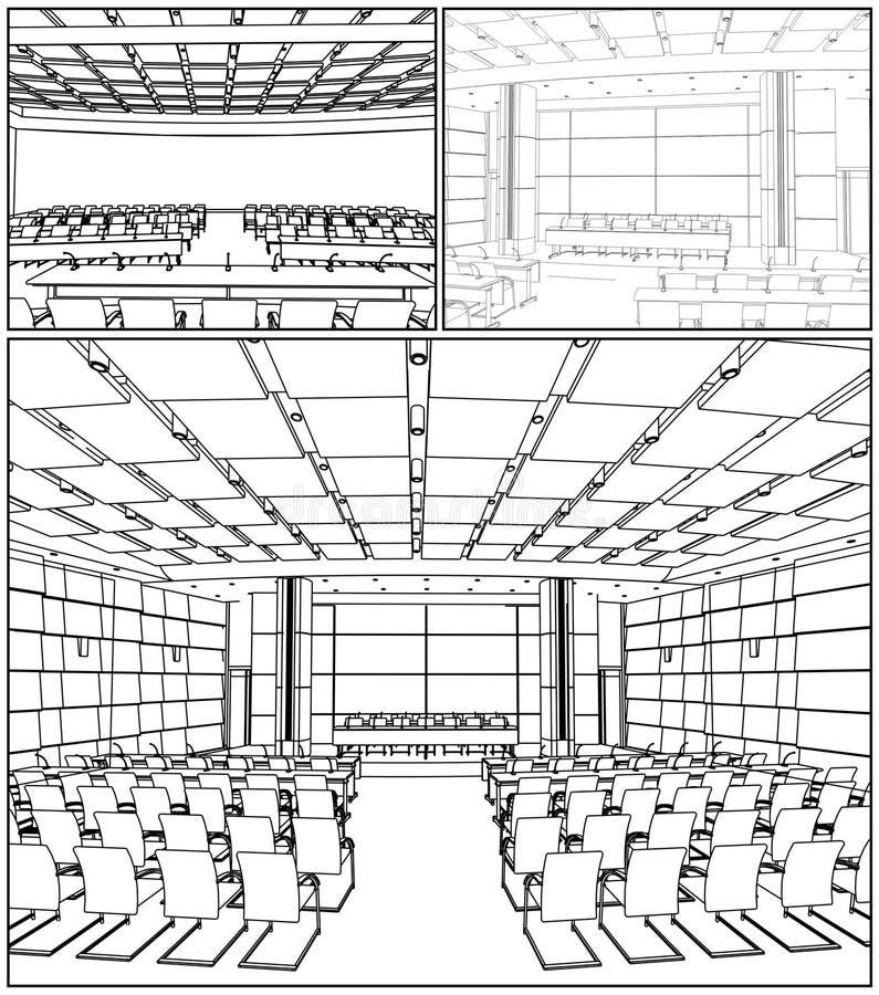01会议大厅内部向量 向量例证