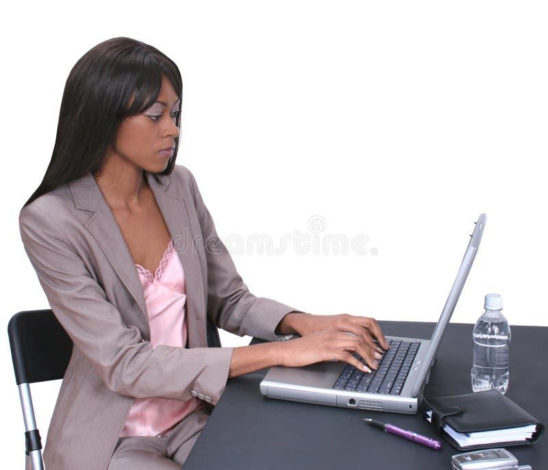 01台膝上型计算机妇女 库存照片