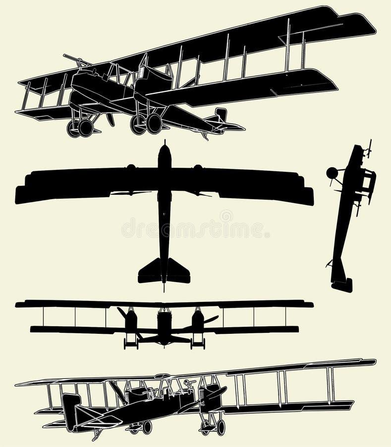 01架古色古香的双翼飞机军事推进器向 皇族释放例证