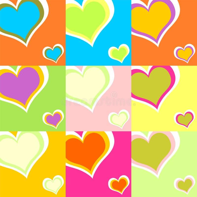 01 ζωηρόχρωμες καρδιές διανυσματική απεικόνιση