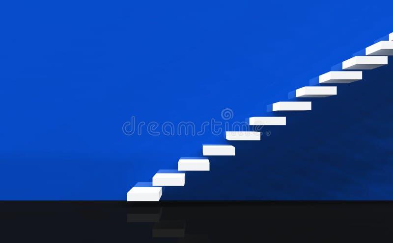 01 голубая лестница принципиальной схемы белая иллюстрация вектора
