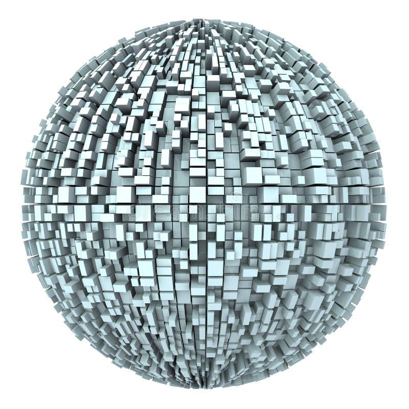 01 3d abstrakcjonistyczna pudełka miasta kula ziemska miastowa ilustracji