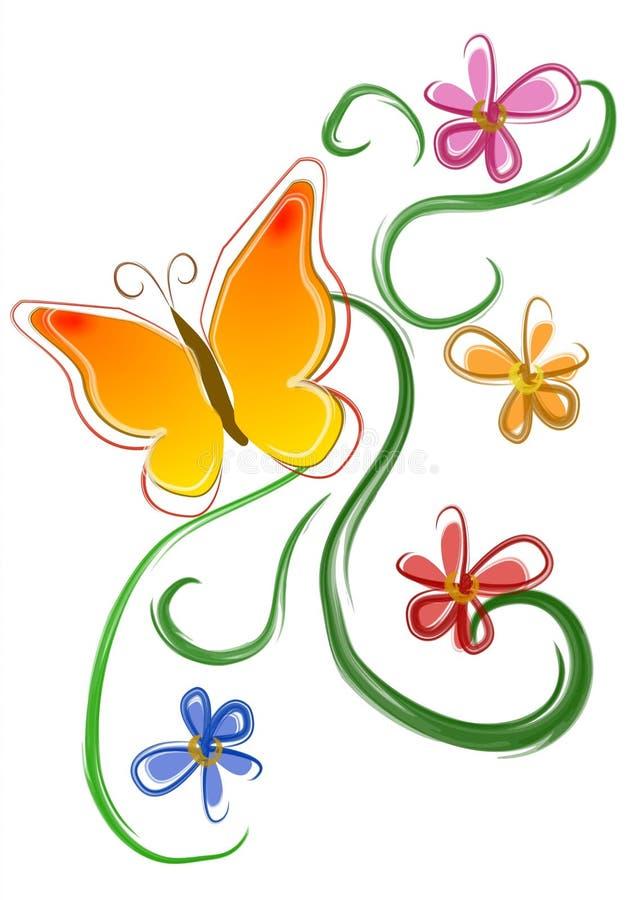 01 blommor för konstfjärilsgem royaltyfri illustrationer