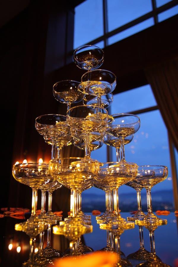 01 champagneexponeringsglas arkivbild