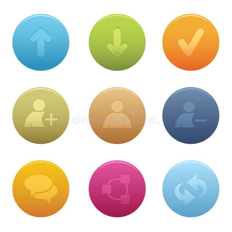 01 Circle Chat Media Icons stock illustration