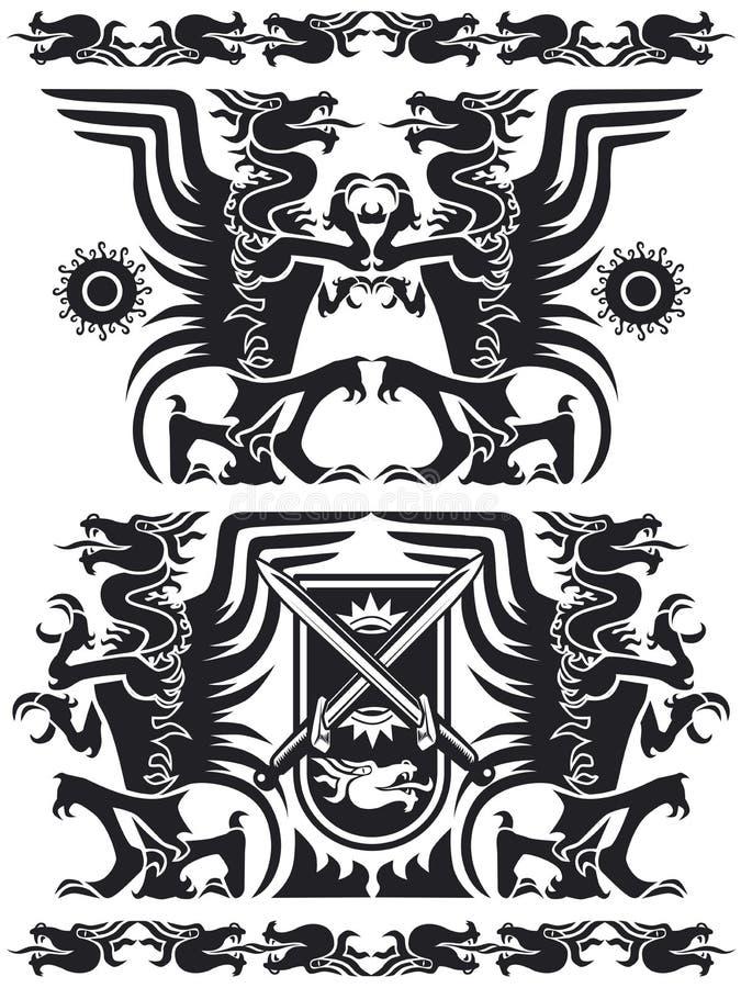 01 czarnego smoka zestaw royalty ilustracja