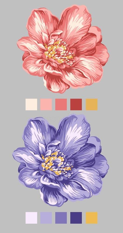 01 kwiat patroszona ręka ilustracja wektor