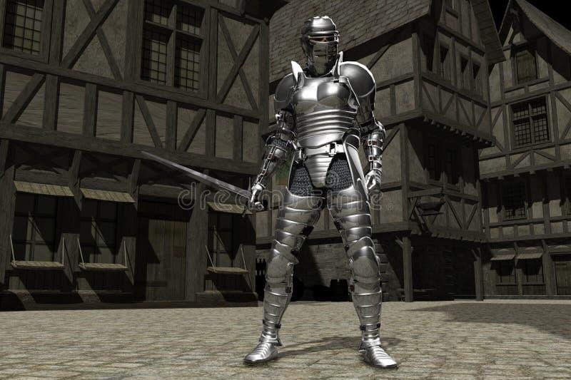 01 rycerza średniowieczny miasteczko ilustracja wektor