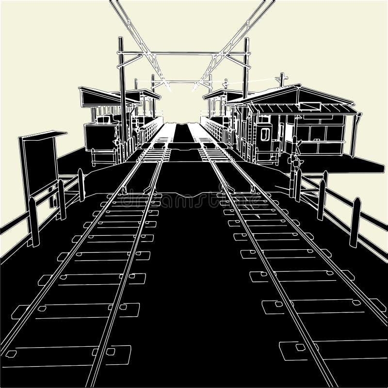 01 stacja kolejowa antykwarski wektor ilustracja wektor
