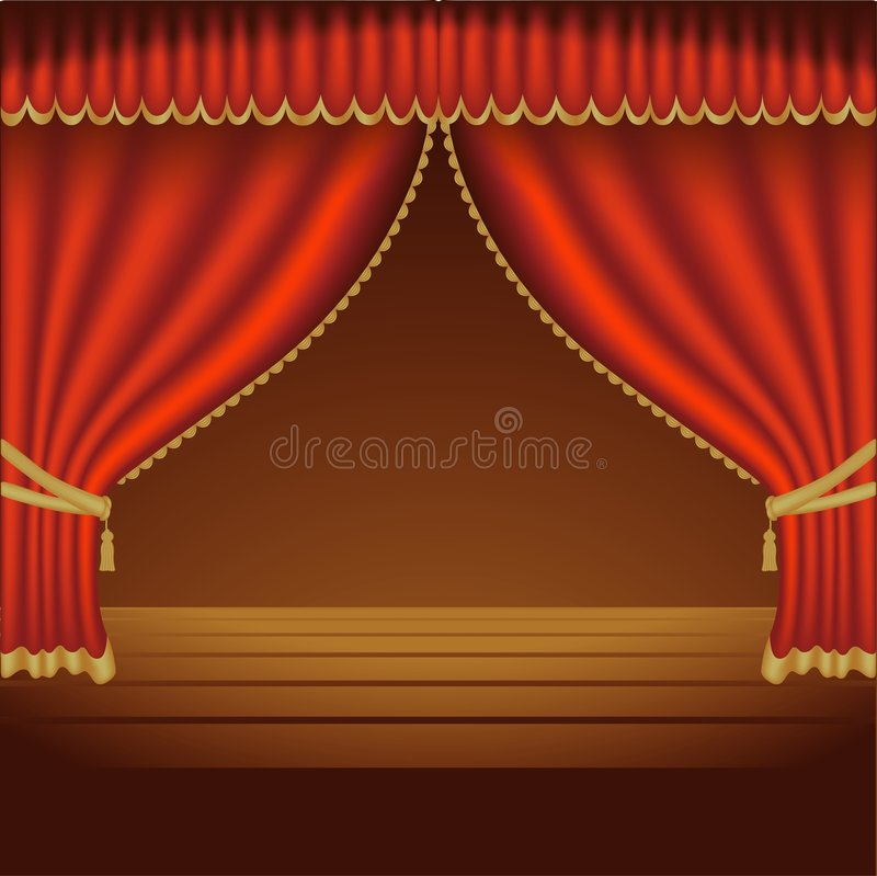 01 teatr courtains ilustracji