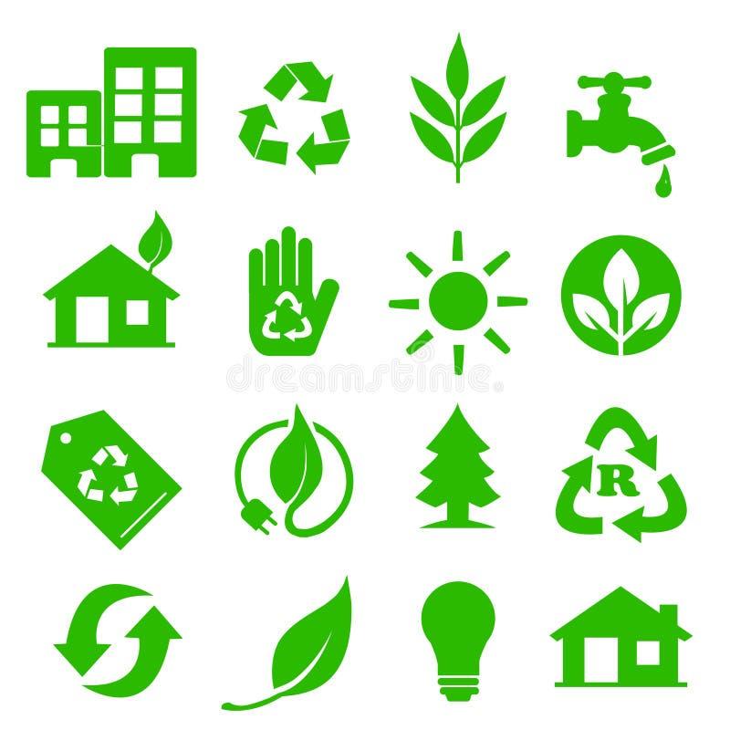 01 zielone idą ustawiać ikony ilustracja wektor