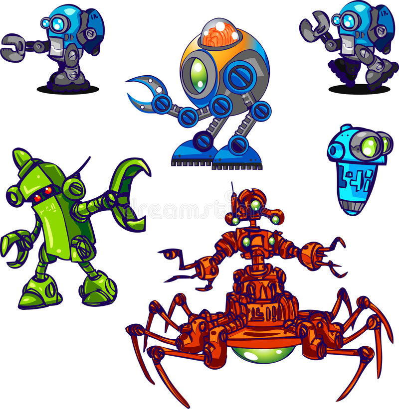 011个字符收集设计机器人 向量例证