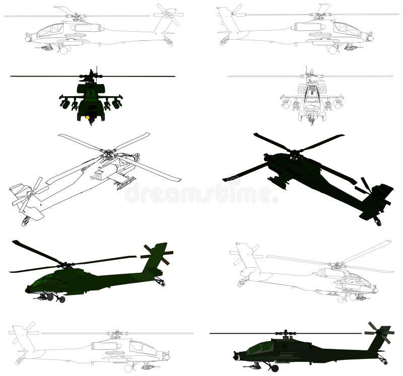 02个直升机军人导航 库存例证