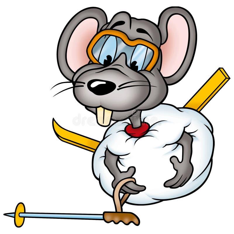 02个鼠标滑雪者 皇族释放例证