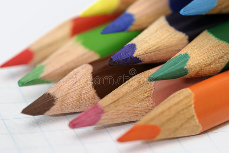 02支色的铅笔 免版税库存图片