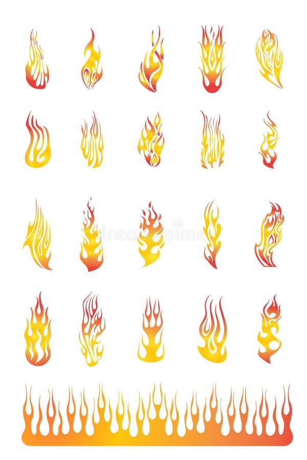 02 φλόγες που τίθενται ελεύθερη απεικόνιση δικαιώματος
