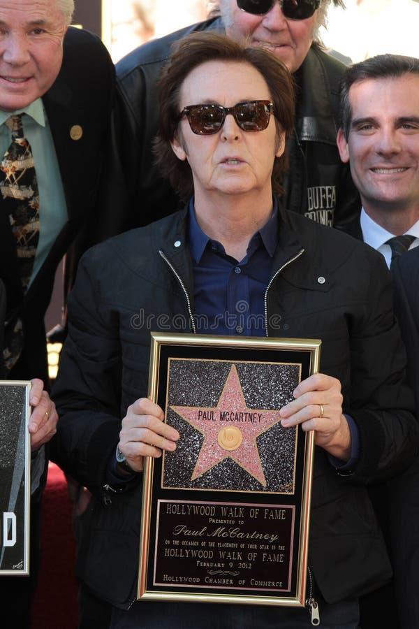 02 09 12加州仪式名望好莱坞麦卡特尼・保罗星形结构 库存照片