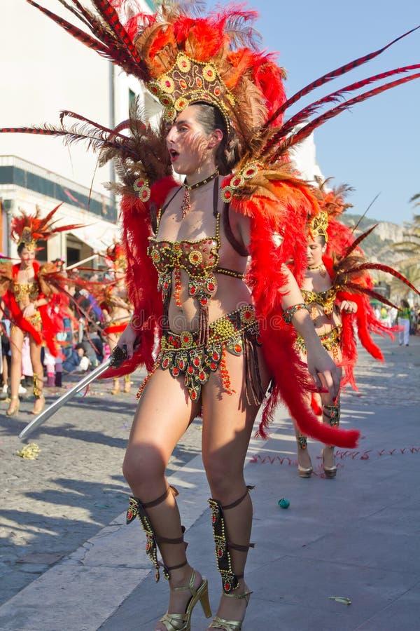 02 19 2012 karnevalportugal sesimbra royaltyfri foto
